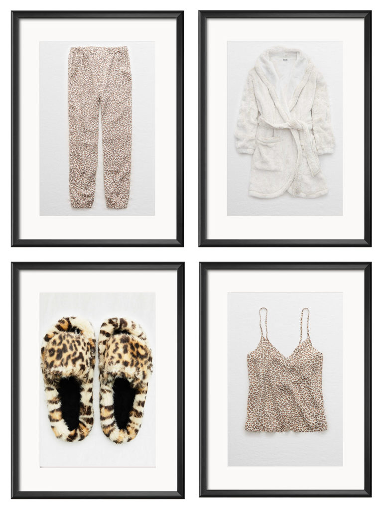 Pajama pants, robe, slippers, and pajama top for shopping