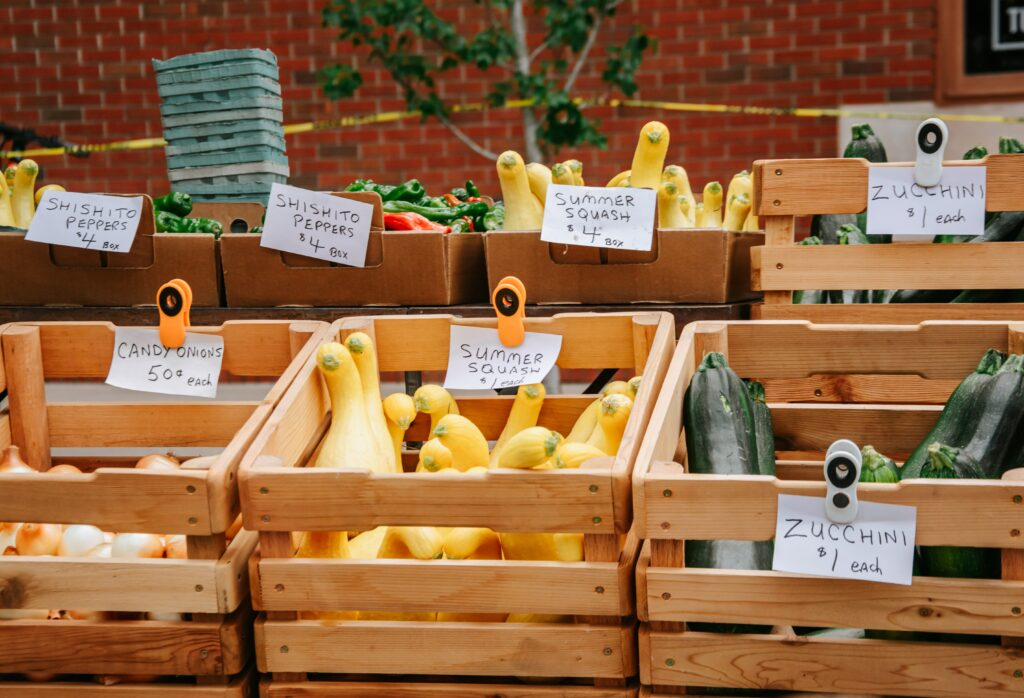 shop at the farmers market to eat healthy on a budget